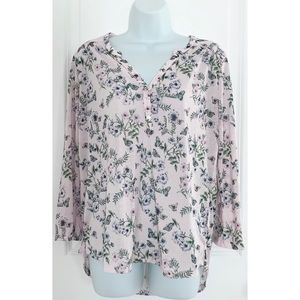 H&M Purple Floral Printed Hi Low Long Sleeve Top